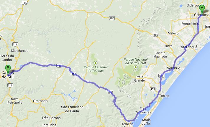 mapa-criciuma-caxias do sul