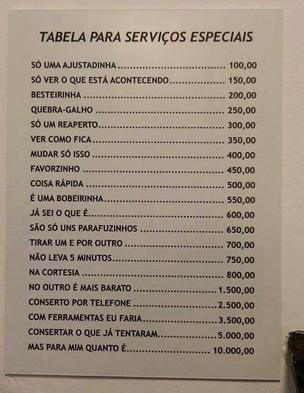 tabela de serviços especiais freelancer ale koga